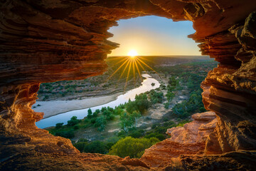 sunrise at natures window in kalbarri national park, western australia