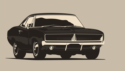 Fototapeta Classic muscle car in vector. Vintage style, solid colors.  obraz