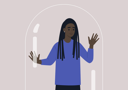 Social distancing concept, a young female worried Black character leaning on the glass dome wall, depression and mental health issues