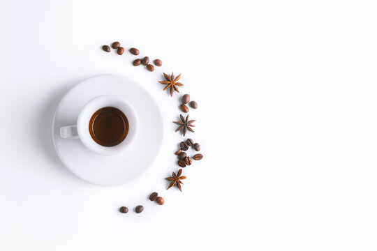 Cup of coffee , coffee beans on white background. Cup of espresso.Top view