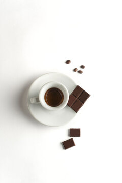 white coffee cup with chocolate  on white background, Cup of espresso.Top view