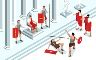 Ancient Gladiators Fight Composition - fototapety na wymiar