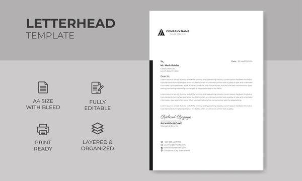 Modern Creative & Clean Business Letterhead Design Template, A4 Letterhead vector & illustration Design Template