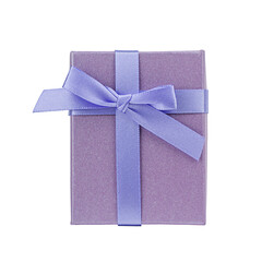 Purpl gift box isolated on a white background. Top view