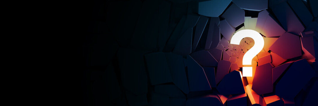 Lit question mark, business concepts, original 3d rendering