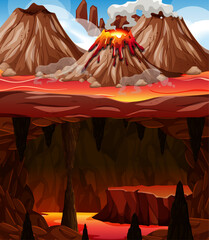 Wall Murals Brown Infernal dark cave with lava scene