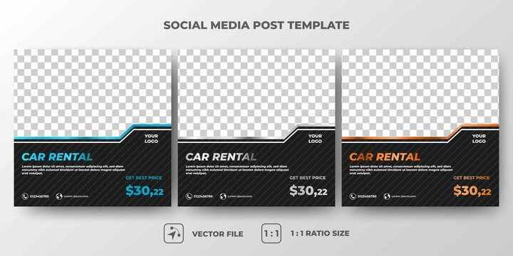 Set of Editable square banner template. Car rental banner with silver, orange, and blue frame color. Flat design vector with a photo collage. Usable for social media, banners, and web internet ads.