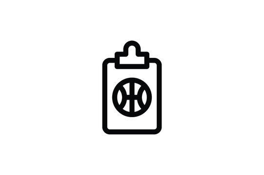 Basketball Outline Icon - Clipboard