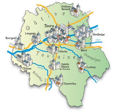 37 Carte du département de l'Indre-et-Loire
