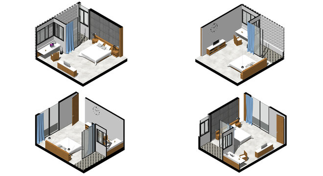 Isometric Architectural Projection - CLB 14 Interior Isometrics Bedroom 1