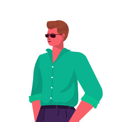 Wall Mural - young man in casual trendy clothes male cartoon character portrait vector illustration