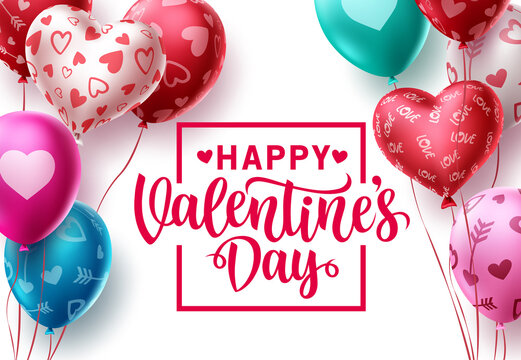 Happy valentines day balloon vector template design. Valentine balloons with greeting text and colorful hearts and pattern elements in white space background. Vector illustration.