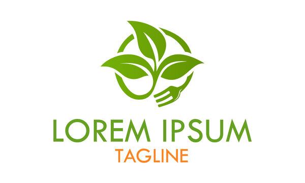 Green Color Nature Eco Leaf Fork Food Logo Design