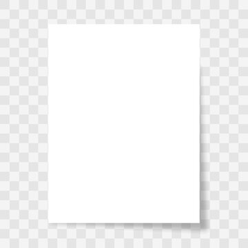 Blank paper sheet with shadow on transparent background. White piece page different shapes. 3d realistic vector mockup. Vector illustration.
