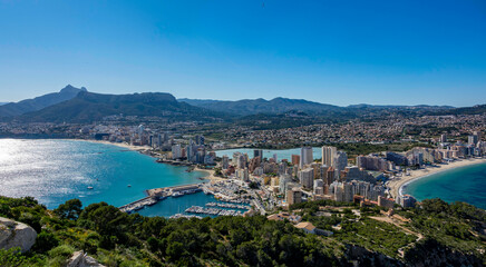 Beaches and mountains of Calpe. View from the natural park of Penyal d'Ifac, Spain