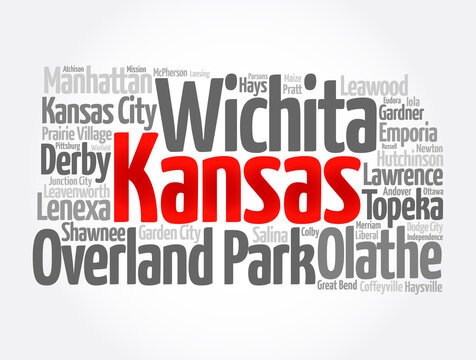 List of cities in Kansas USA state, map silhouette word cloud, map concept background