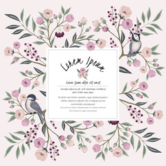 Wall Mural -  Vector illustration of a floral frame with little birds on branch in spring. Design for cards, party invitation, Print, Frame Clip Art and Business Advertisement and Promotion