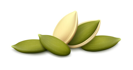 Fototapeta Lying pumpkin seed in open shell, whole husk, three shelled kernels isolated on white background. Realistic vector illustration.