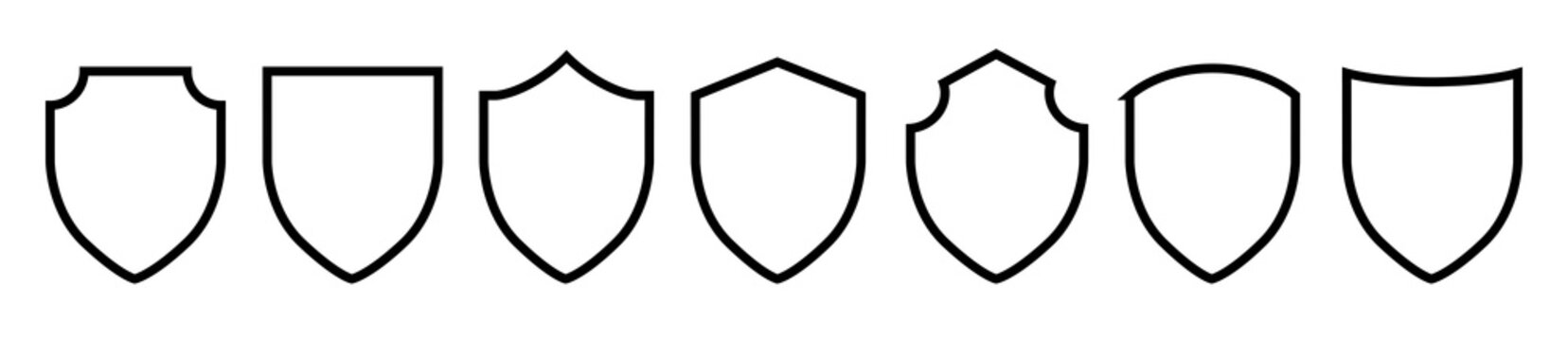 Black line shield icon set in vintage style. Protect shield security icons. Badge quality symbol, sign, logo, emblem. Vector illustration.