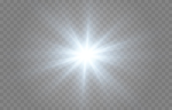 Vector blue light. Sun, sun rays, flare, dawn png. Explosion of blue light. Blue Star PNG. Blue flash png.