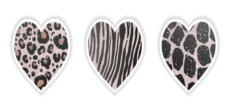 Abstract valentines day card or t-shirt sticker with leopard print on heart and love text on brushstroke with white background. Design template banner, invitation card, symbol. love sign on animal ski