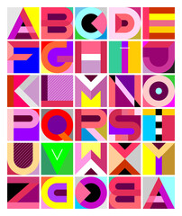 Decorative Geometric Font. Vector multicolored decorative geometric font design. Abstract art graphic illustration featuring the letters of the alphabet from A to Z.