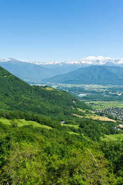 Aix-les-Bains and Lac du Bourget from the viewpoint on Mont Revard, Savoie, Rhone-Alps, France
