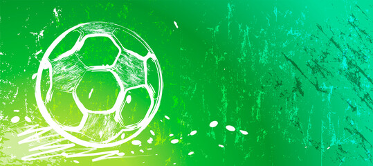 abstact background with soccer ball, football, with paint strokes and splashes, grungy, free copy space