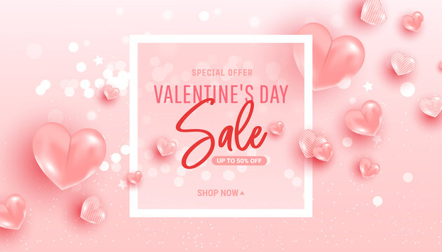 Happy saint valentine day sale background with air heart shaped balloons. Minimal frame. Vector illustration