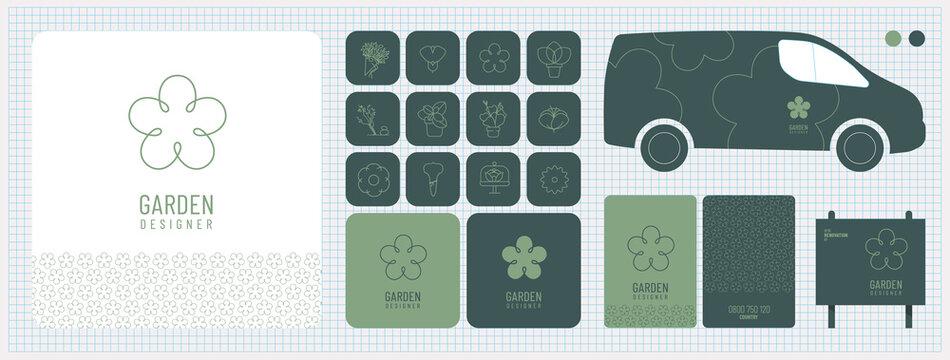 Charte graphique, identité visuelle, logo, publicité, carte de visite, fleuriste, boutique végétale, décoration