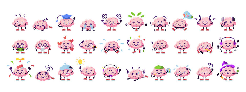 Set of brain cartoons with different emotions - Vector illustration