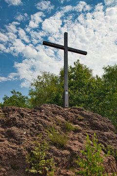 Summit cross of the Windsborn volcano in Rhineland-Palatinate, Germany