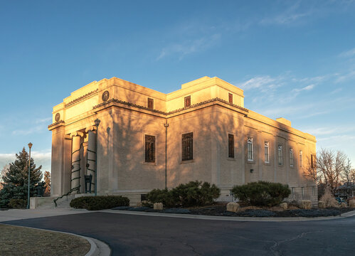 View of the Highlands Masonic Temple in Denver, Colorado, at sunset. Highlands Masonic Lodge was designed by brothersMerrill and Burnham Hoyt in 1927