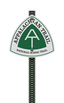 Vector illustration of the Appalachian Trail road sign on metallic post