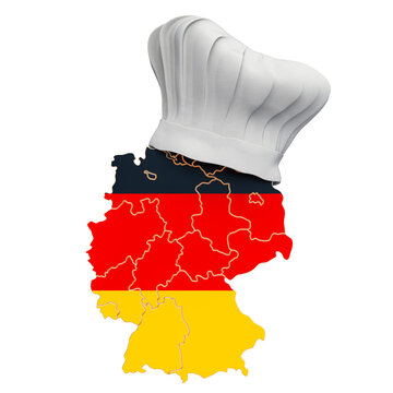 German national cuisine concept. Chef hat with map of Germany. 3D rendering