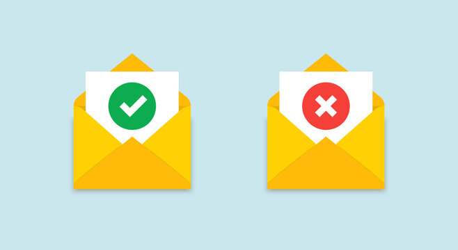Open envelope witn a notification letter. Approved, rejected message. Document in a yellow postal envelope with check mark, cross mark. Web icons