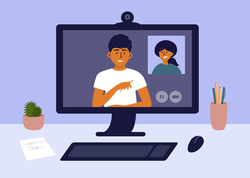 Computer networking in home office. Man and woman make online video call, talk by webcam. Remote team work, web conference. Hiring, job interview. E-learning, studying. Workplace vector illustration