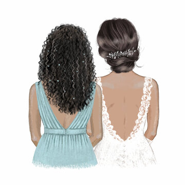 Black bride and bridesmaid. Hand drawn illustration