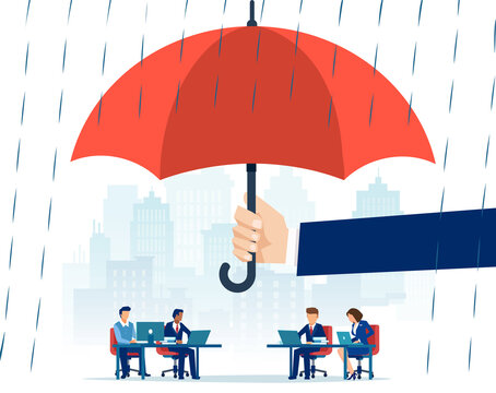 Vector of a hand holding big umbrella in rain protecting employees working in an office
