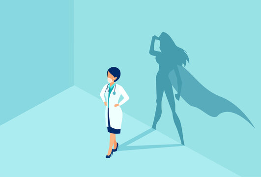 Vector of a confident female nurse or doctor with a superhero shadow on the wall.