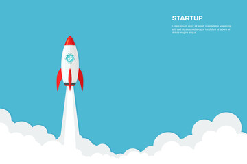 Rocket ship launch background vector. Concept of business product on market, startup, growth, creative idea. Wall mural
