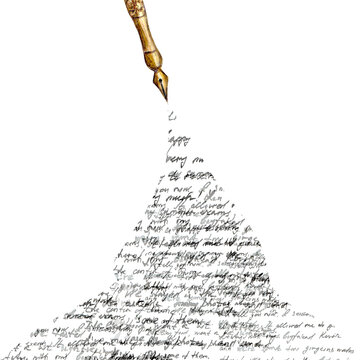 Vintage style fountain pen with spilled ink with black abstract text on white background