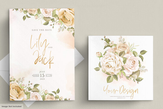 soft floral wedding invitation card set