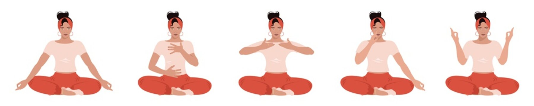 Vector SET. Young woman sitting in various poses and practice deep breathing or Yoga. Abdominal Breathing. Breath Awareness Exercise.