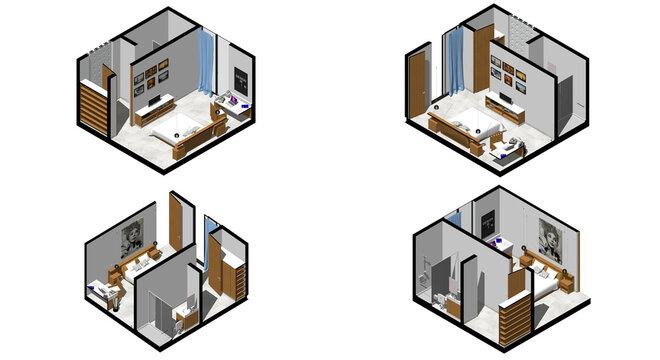 Isometric Architectural Projection - CLB 15 Interior Isometrics Bedroom 2