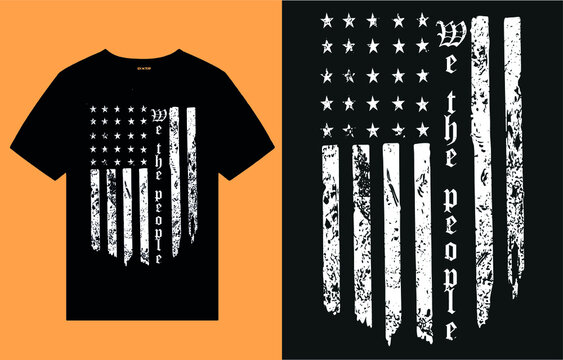 We the people - flag t shirt design vector