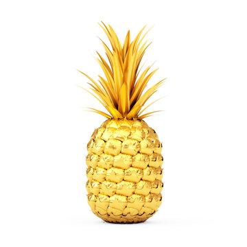 Golden Fresh Ripe Tropical Healthy Nutrition Pineapple Fruit. 3d Rendering
