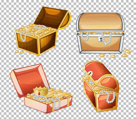 Set of treasure chest isolated on transparent background