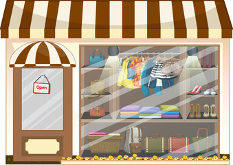 Front of clothing store showcase with clothes and accessories