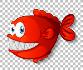 Red exotic fish cartoon character on transparent background